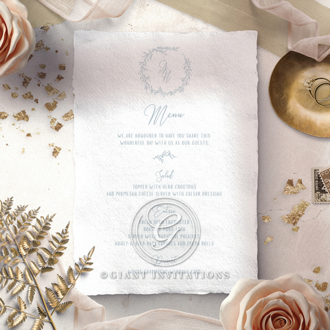 Love Circle wedding reception table menu card stationery design