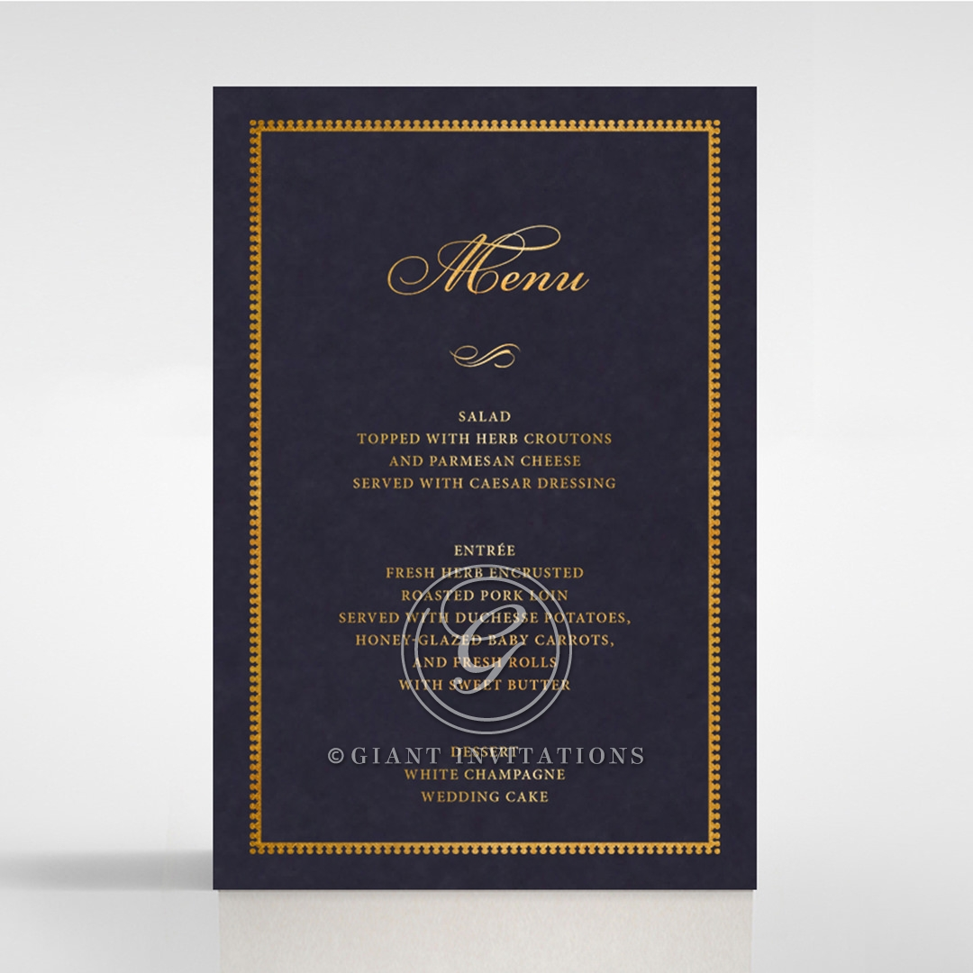 Lux Royal Lace with Foil wedding venue table menu card stationery item