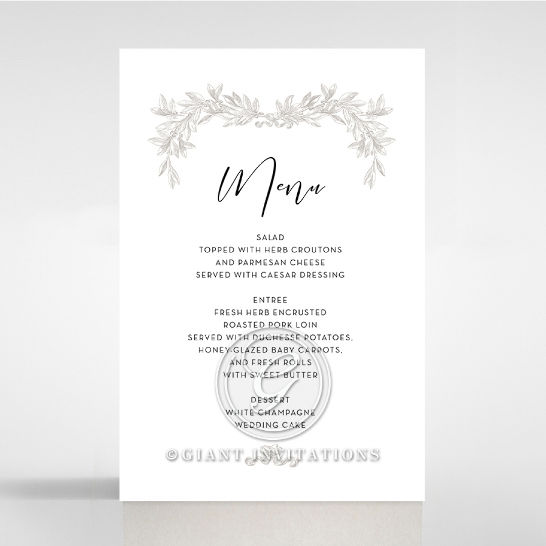 Paper Timeless Simplicity table menu card stationery item