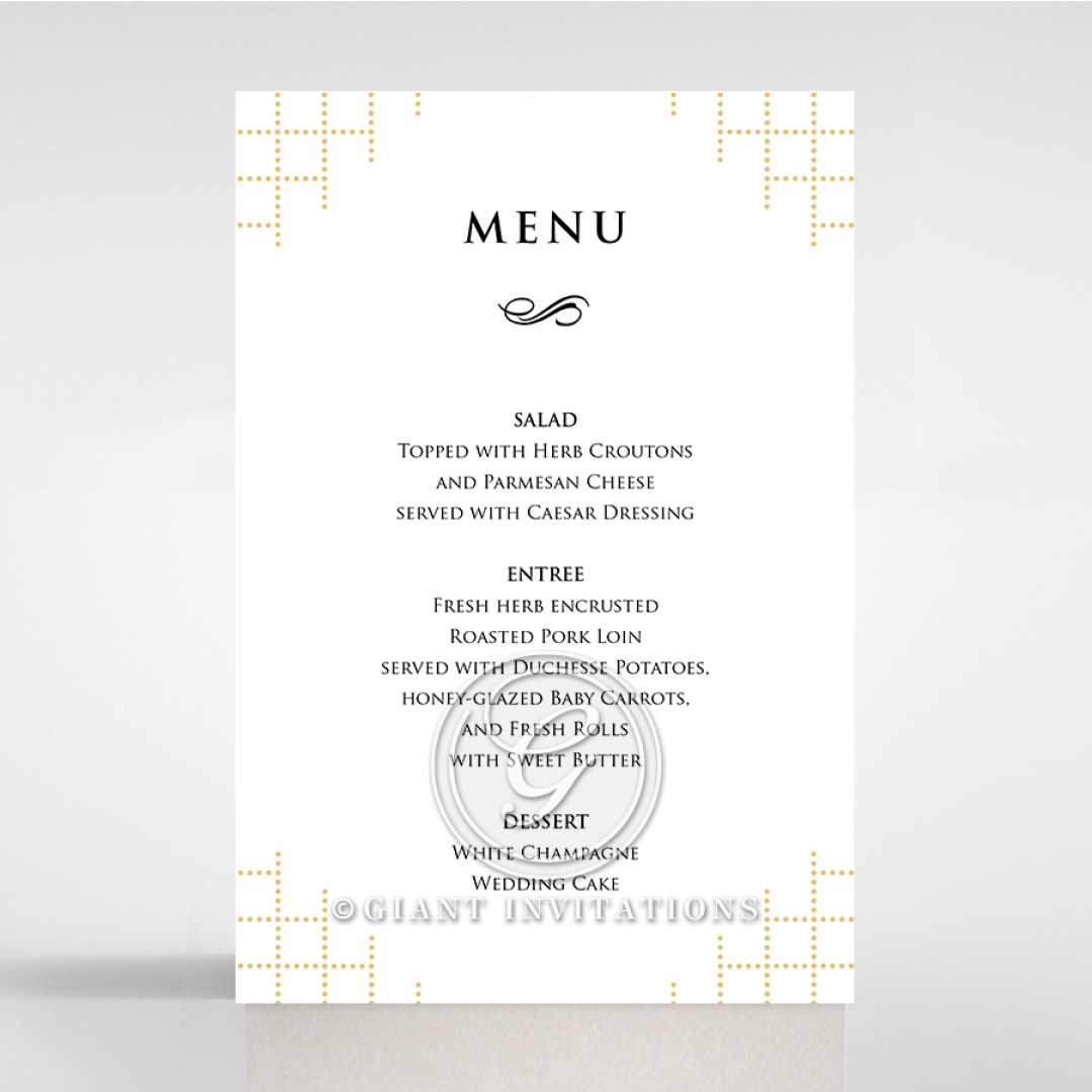 Quilted Letterpress Elegance wedding reception menu card