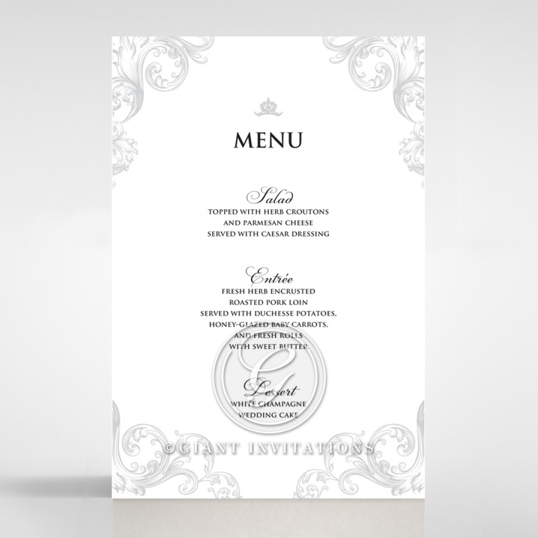 Regally Romantic reception menu card design