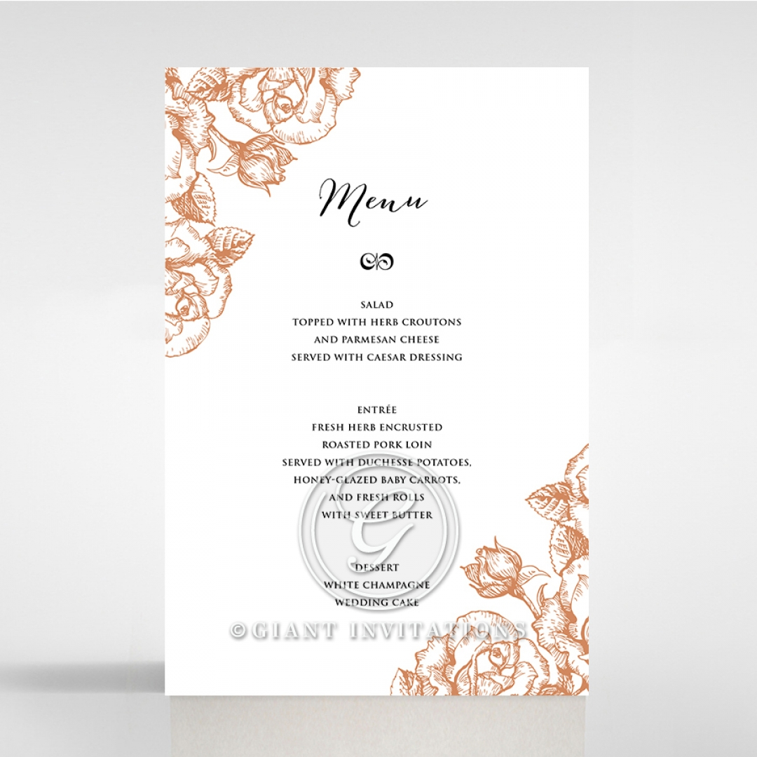 Rose Romance Letterpress wedding reception menu card design