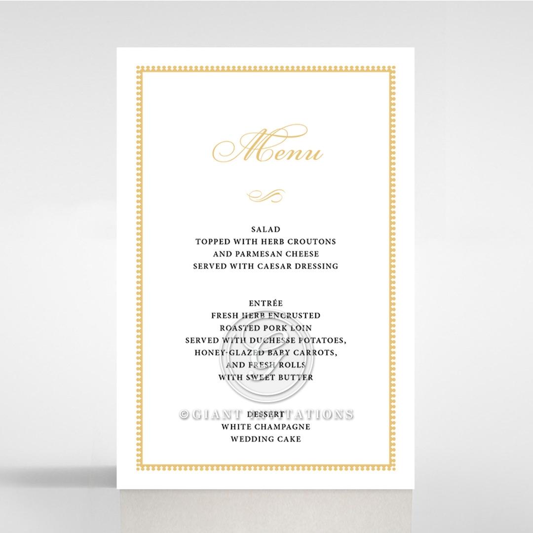 Royal Lace wedding venue table menu card stationery design