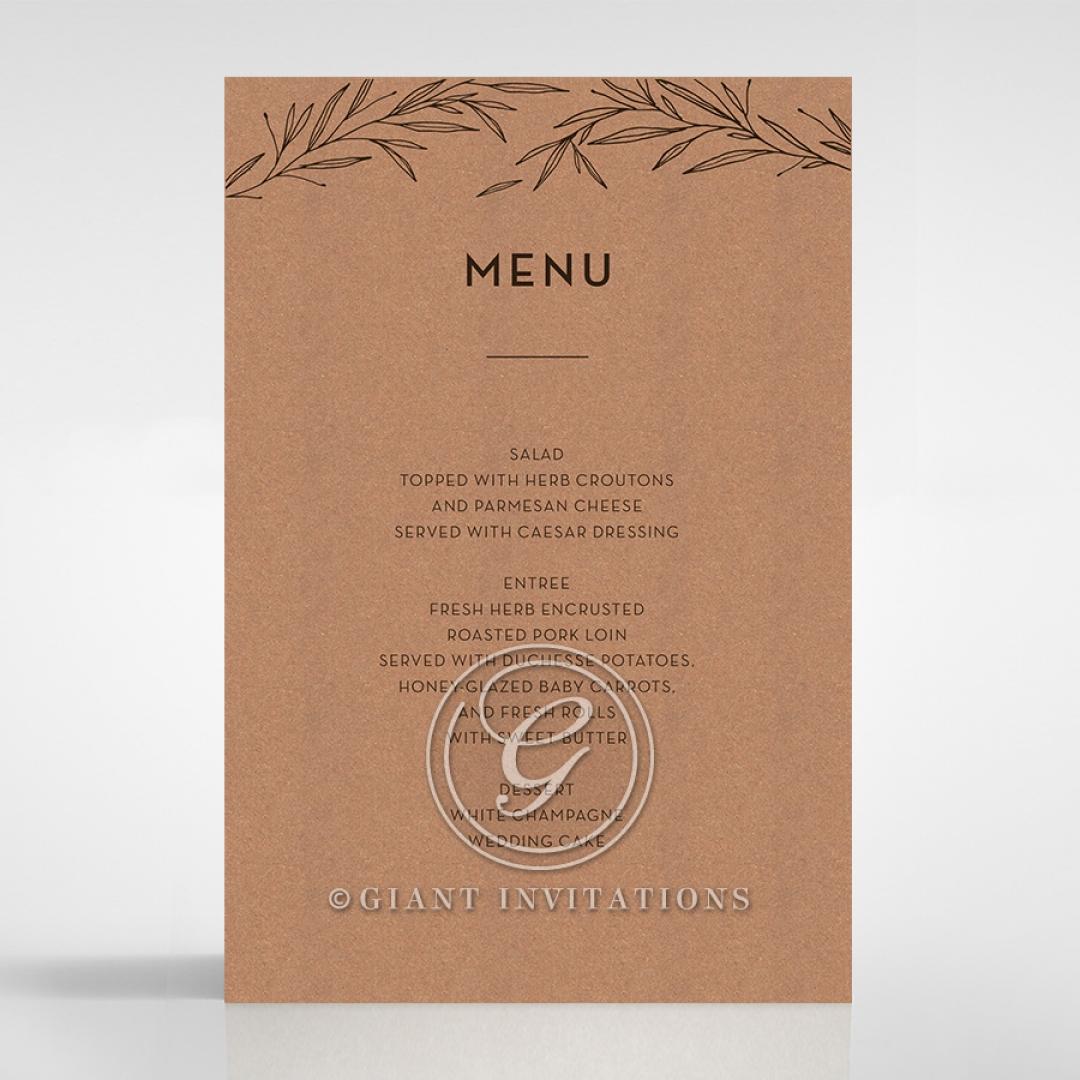 Rustic Oriental wedding menu card