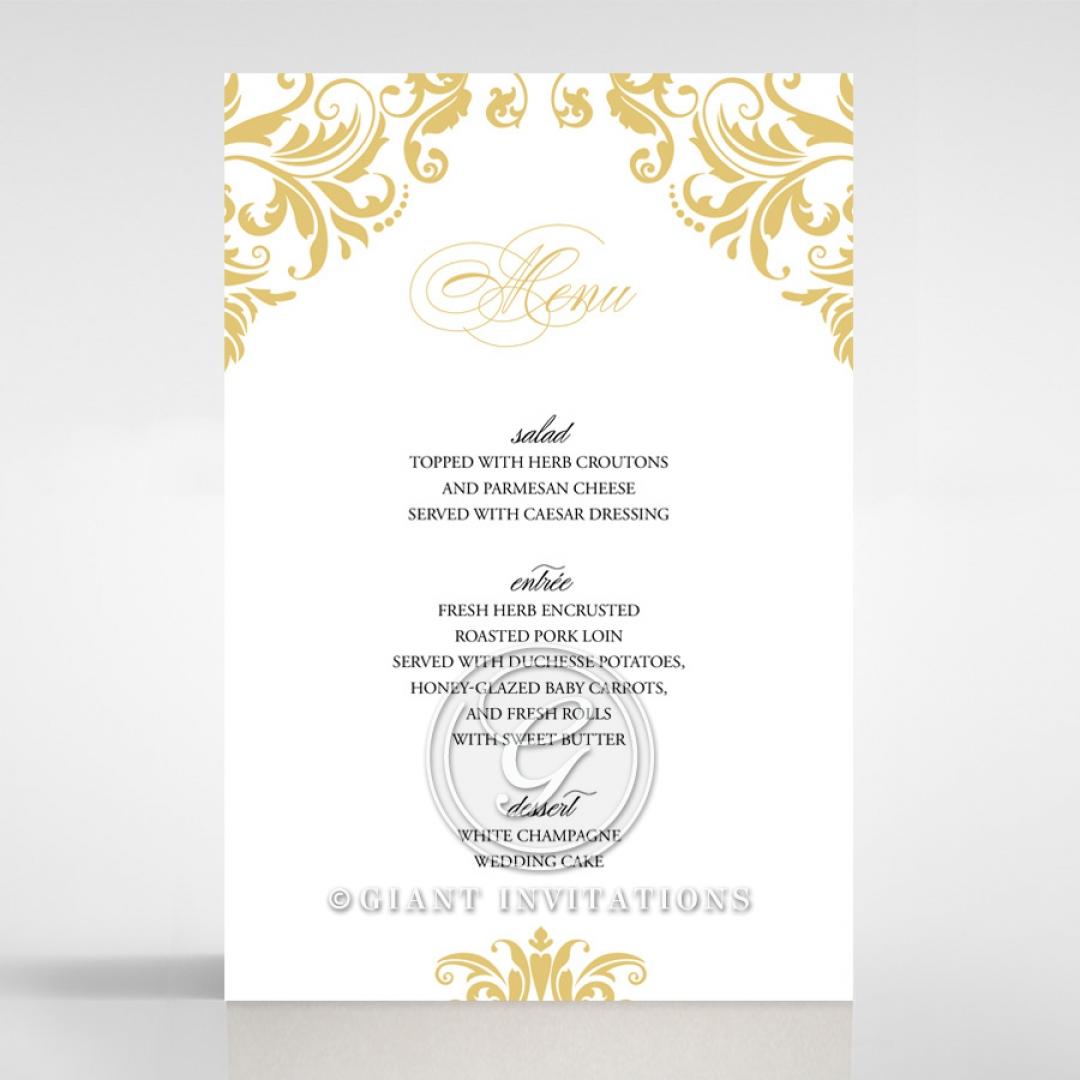 Victorian Extravagance wedding venue table menu card design