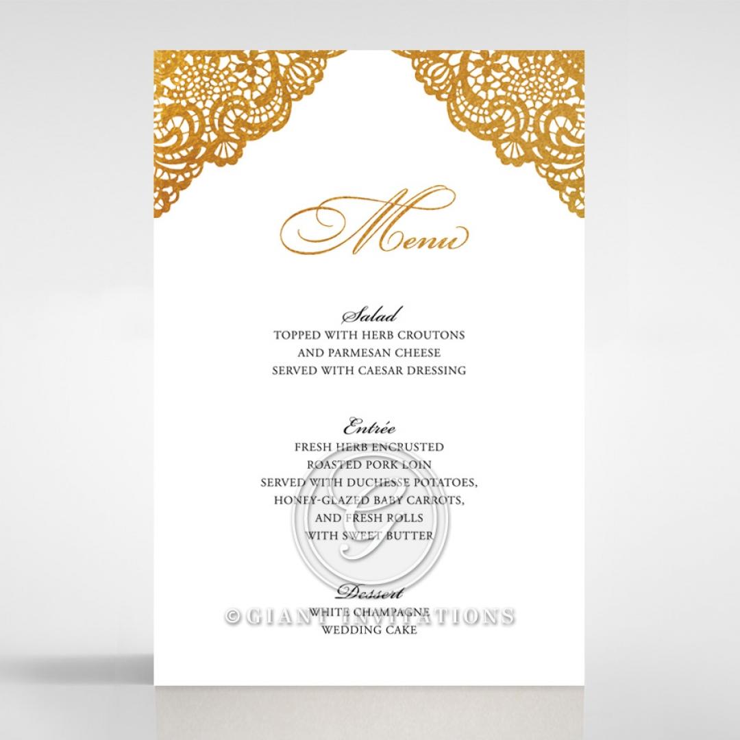 Vintage Prestige with Foil wedding reception menu card