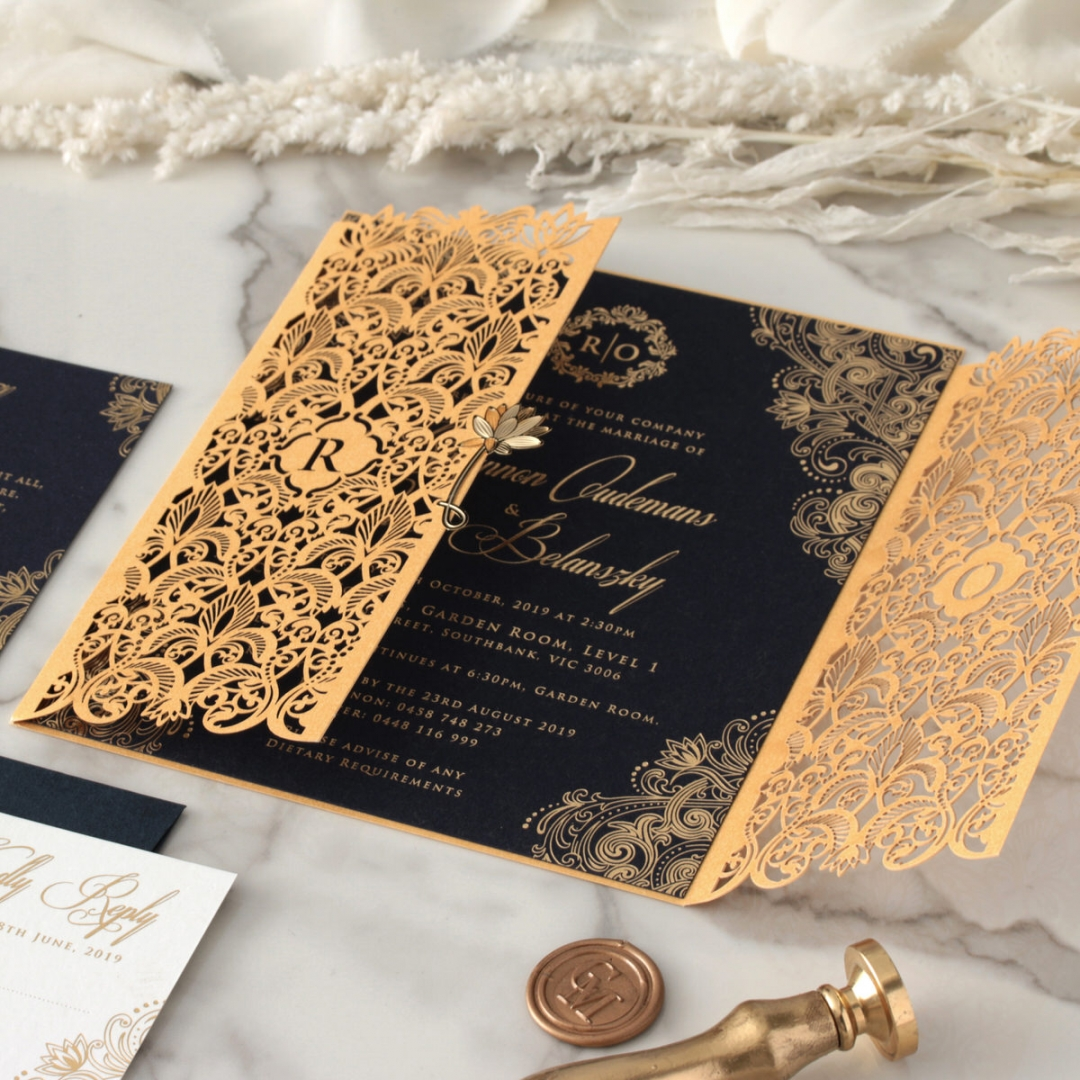 Imperial Glamour - Navy - Wedding Invitations - PWI116022-NV - 184193