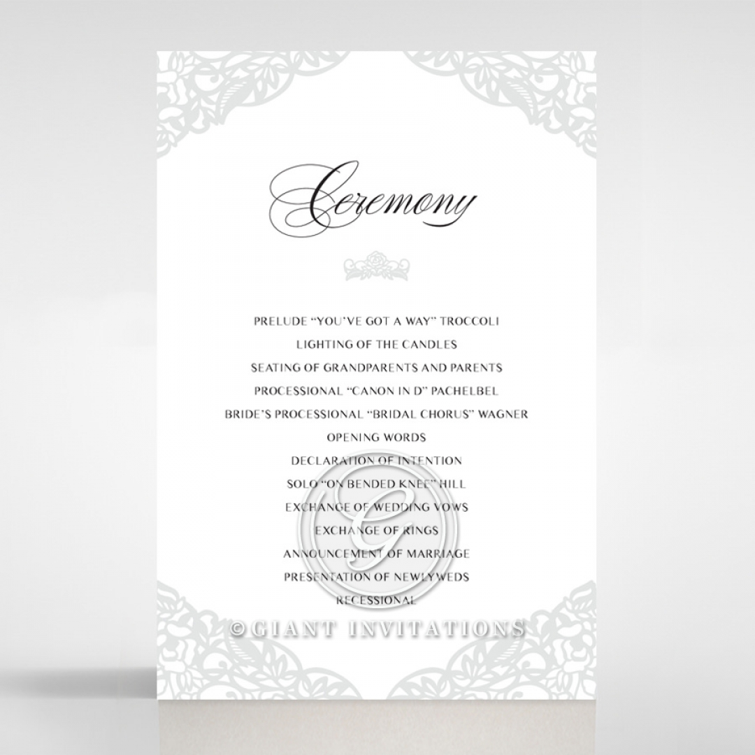 Black Floral Lux wedding stationery order of service ceremony card