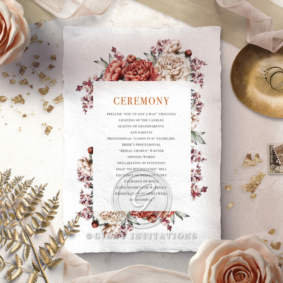 Blossoming Love wedding stationery order of service ceremony card design