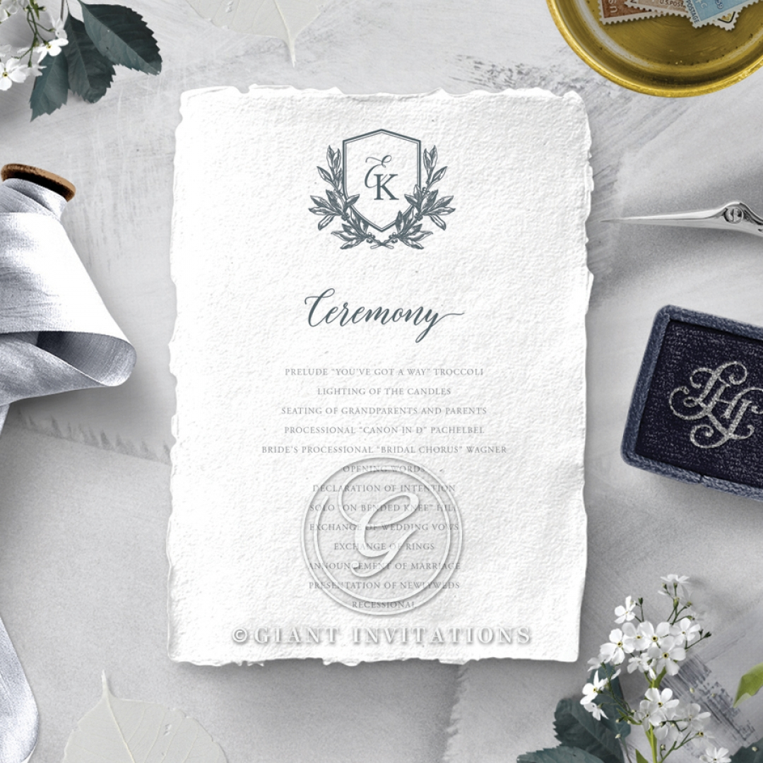 Castle Wedding wedding order of service invite