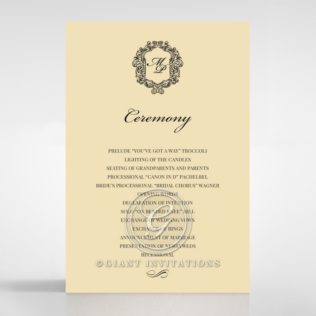 Damask Love order of service invitation