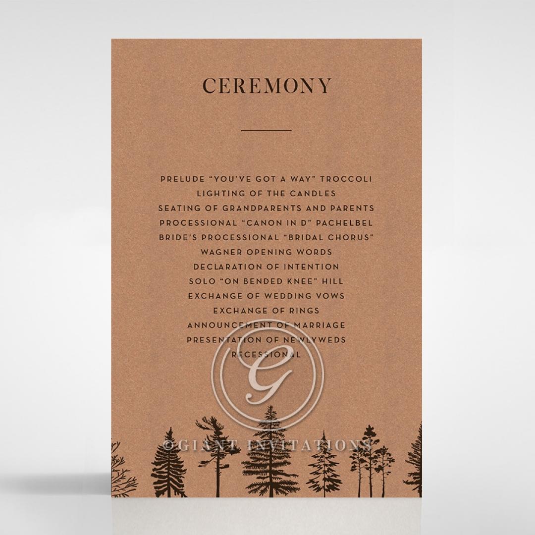 Delightful Forest Romance order of service invite card design