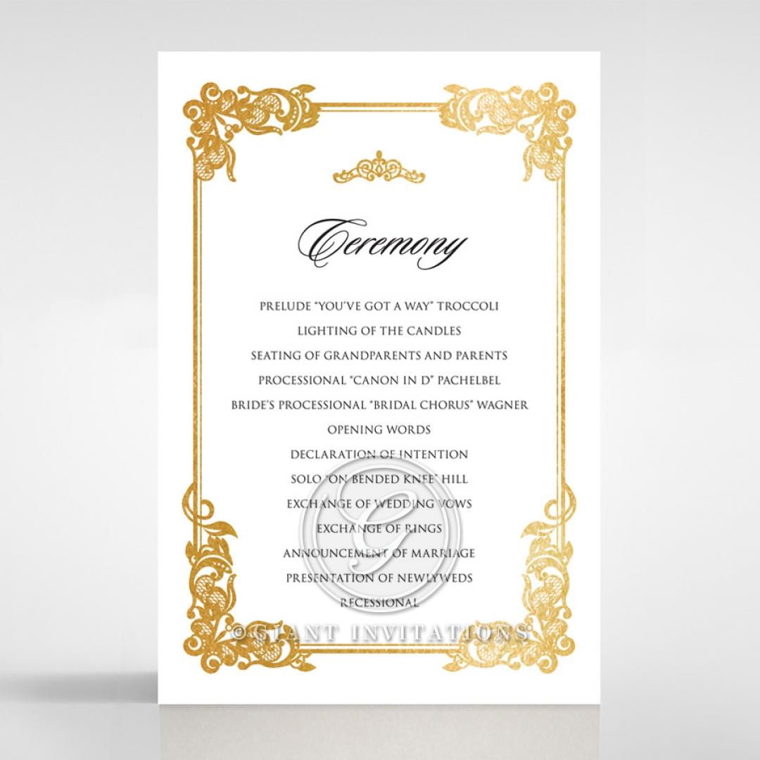 Divine Damask with Foil order of service invitation