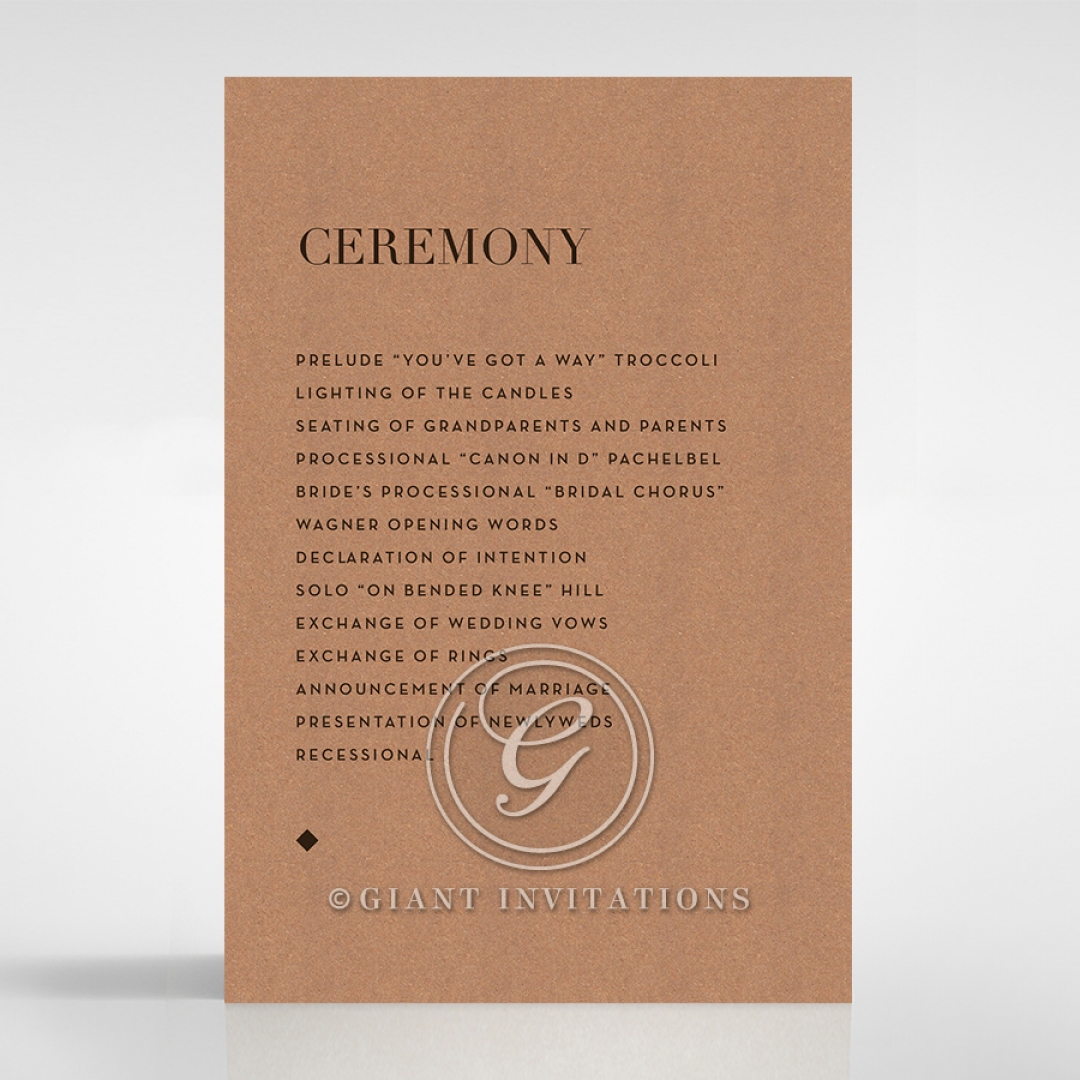Enchanting Imprint order of service wedding invite card