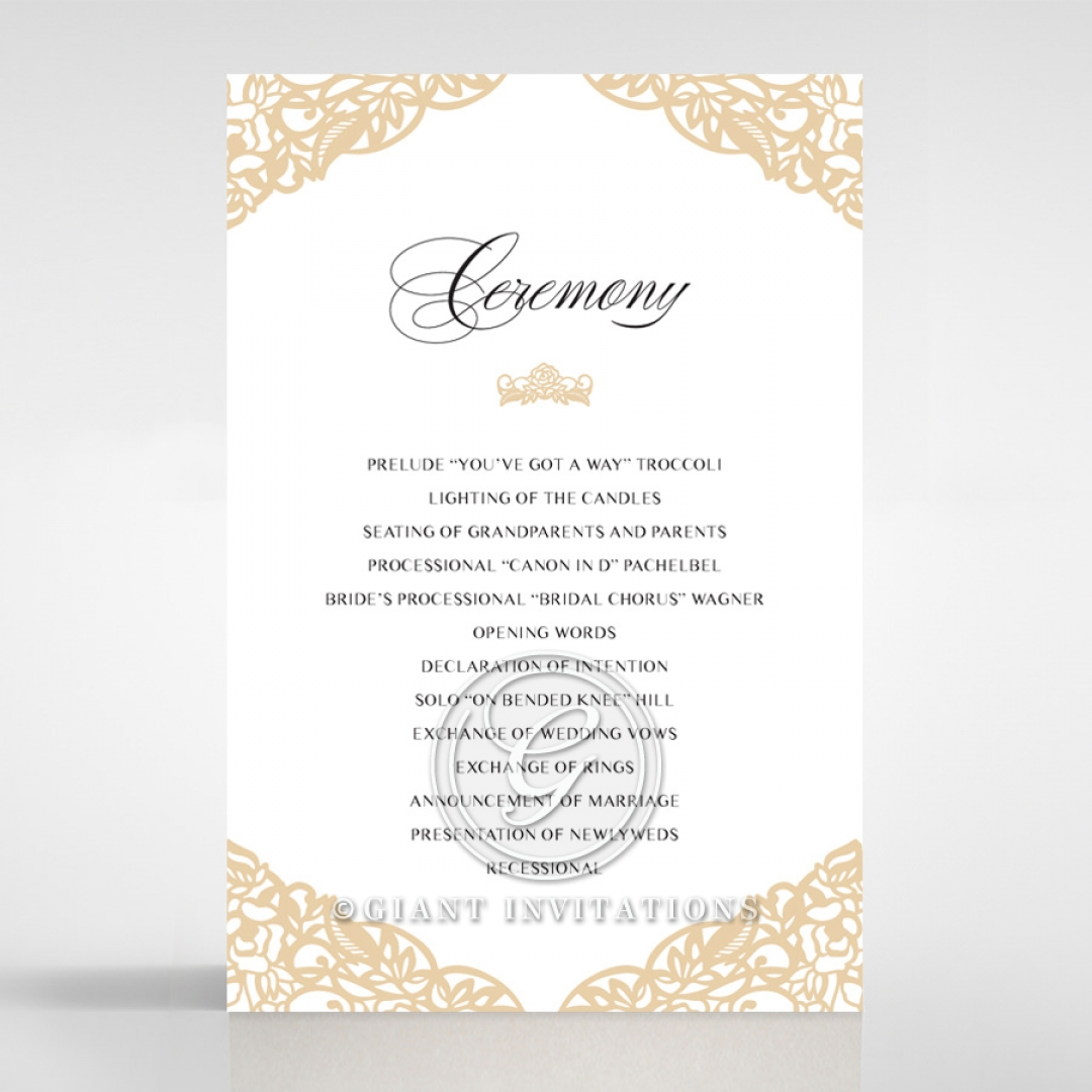 Golden Floral Lux wedding stationery order of service invite card design