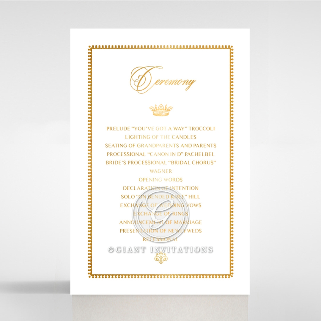Ivory Doily Elegance with Foil order of service wedding card