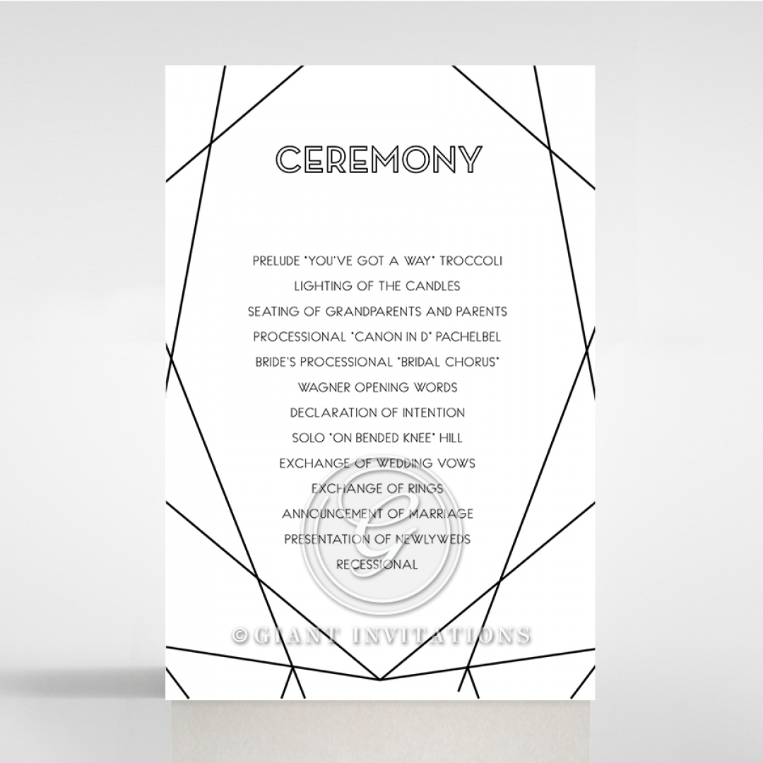 Paper Art Deco wedding order of service invite card
