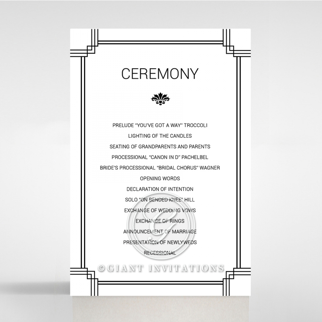 Paper Gilded Decadence wedding stationery order of service invitation