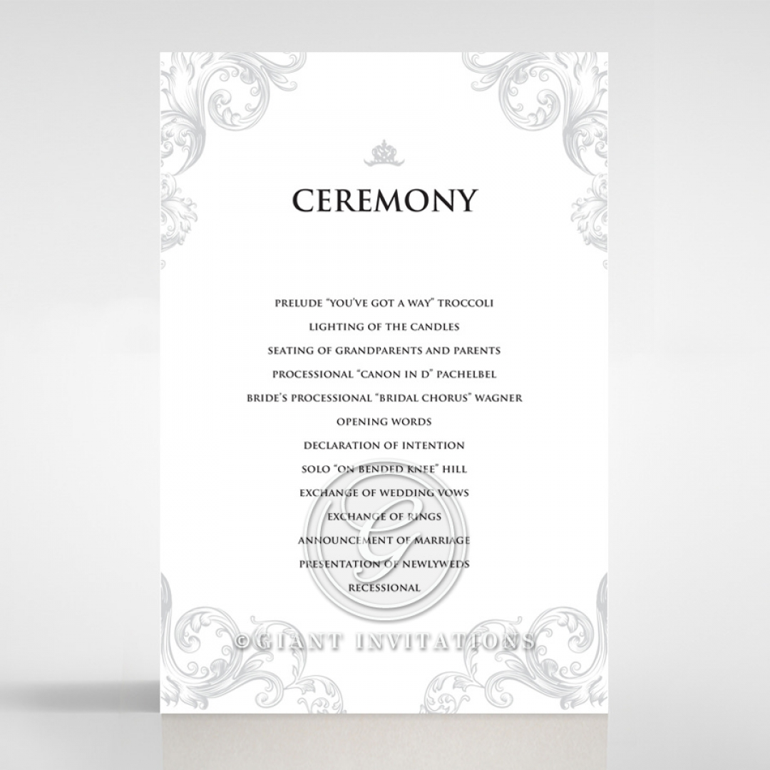 Regally Romantic wedding stationery order of service invite card