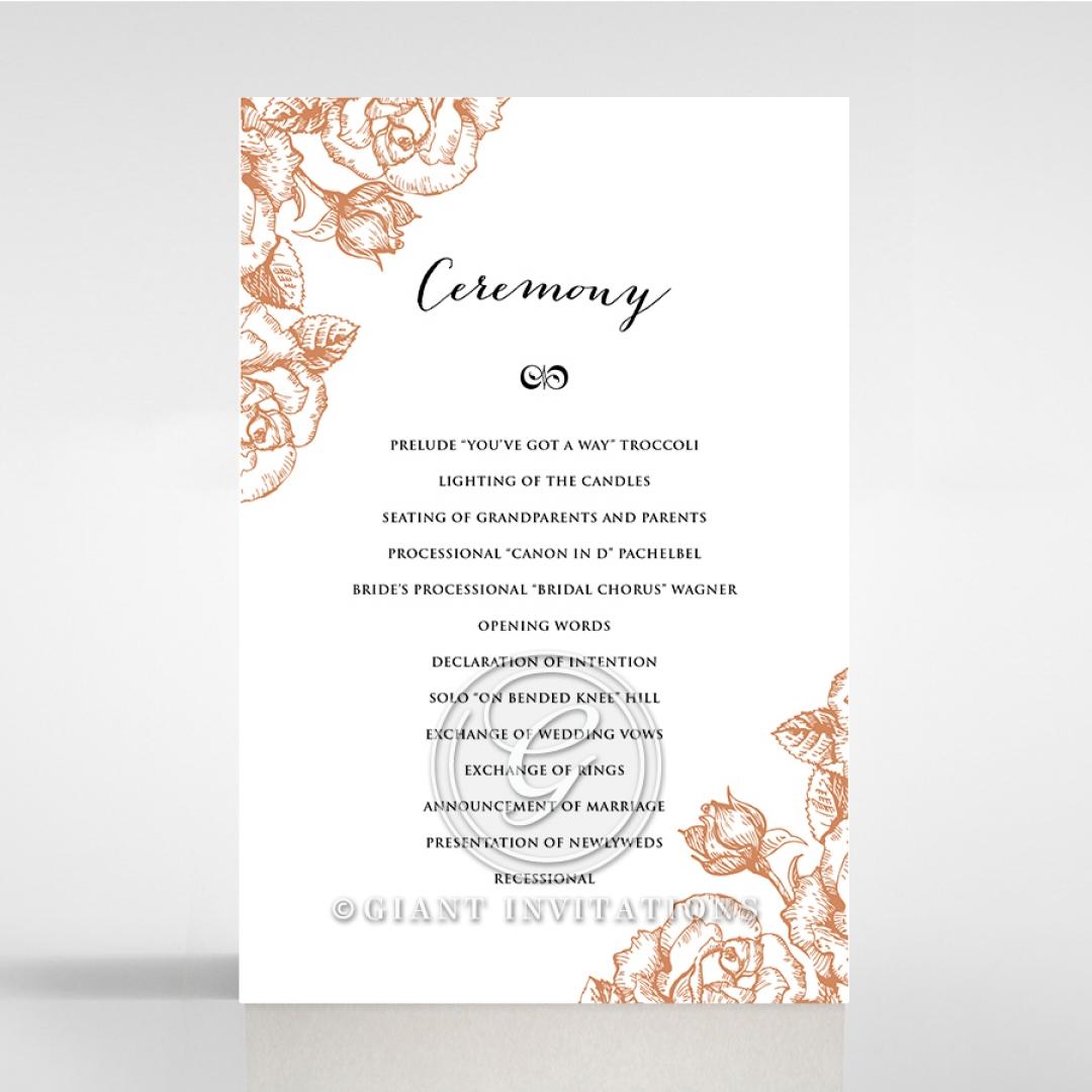 Rose Romance Letterpress order of service ceremony stationery card