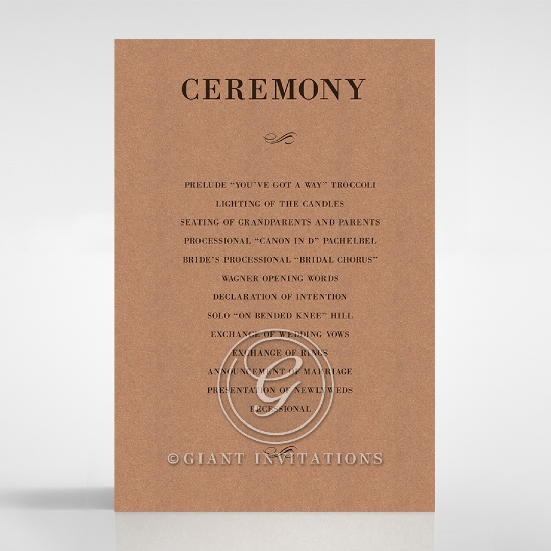 Rustic Love Notes order of service wedding card design
