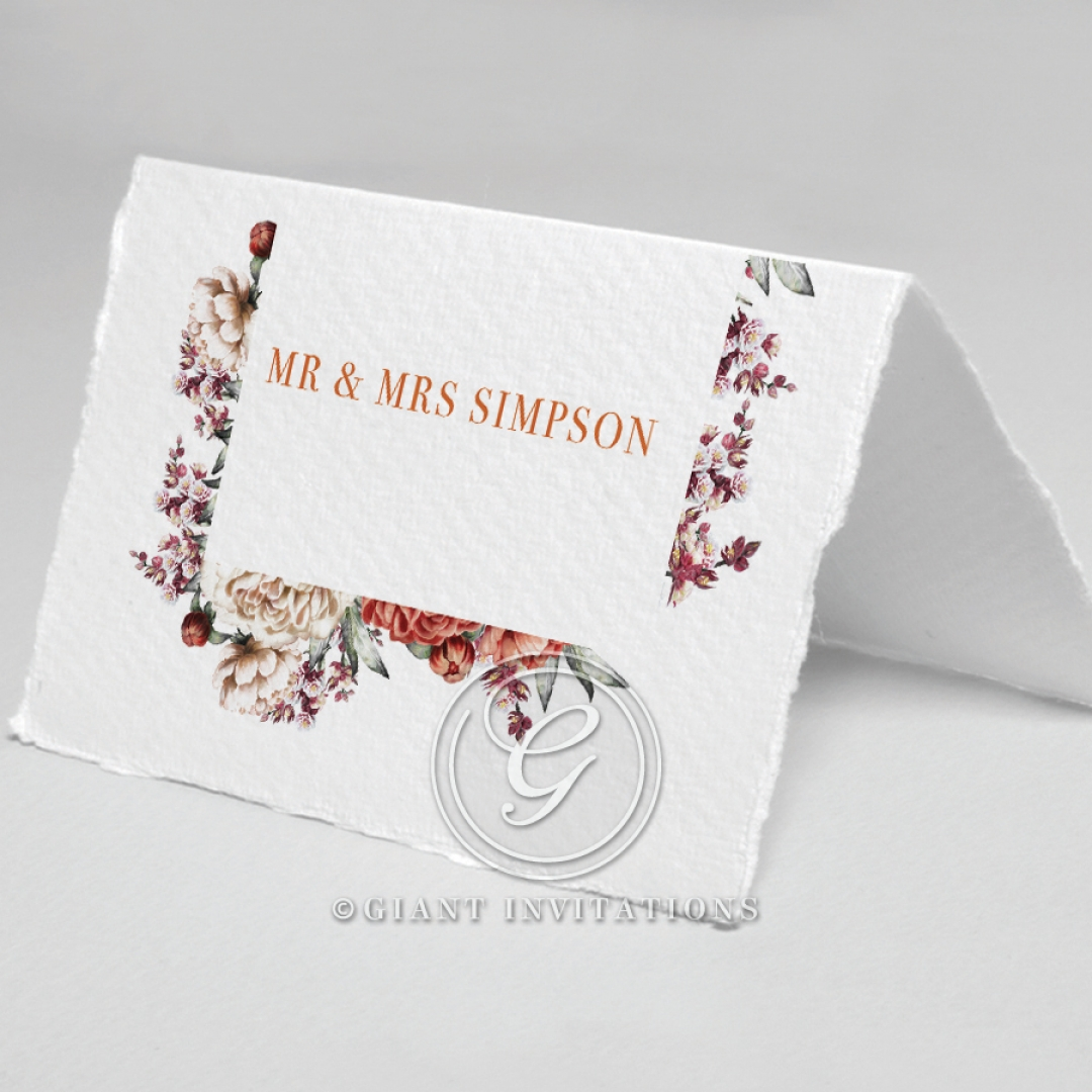 Blossoming Love wedding reception table place card design