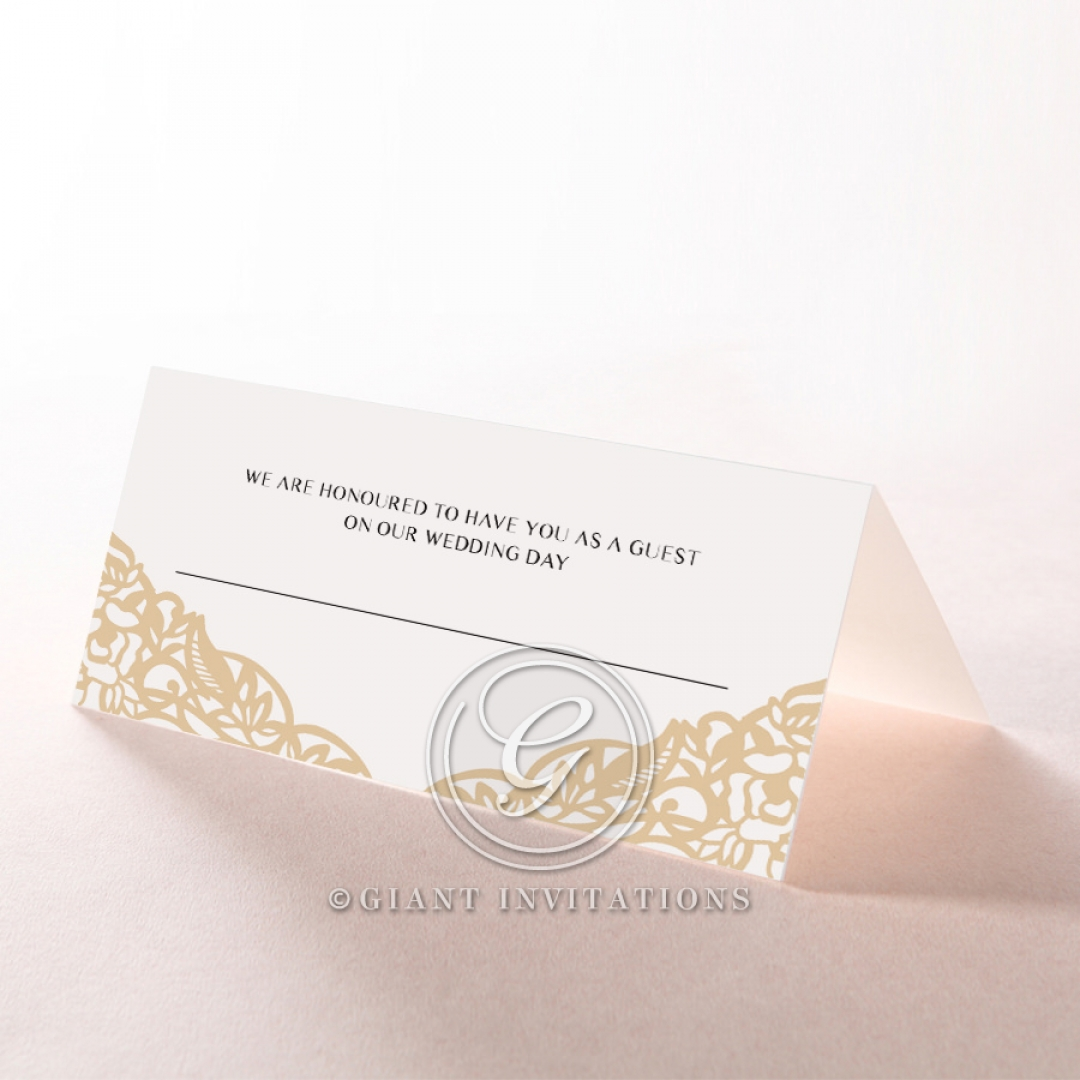 Golden Floral Lux wedding venue table place card