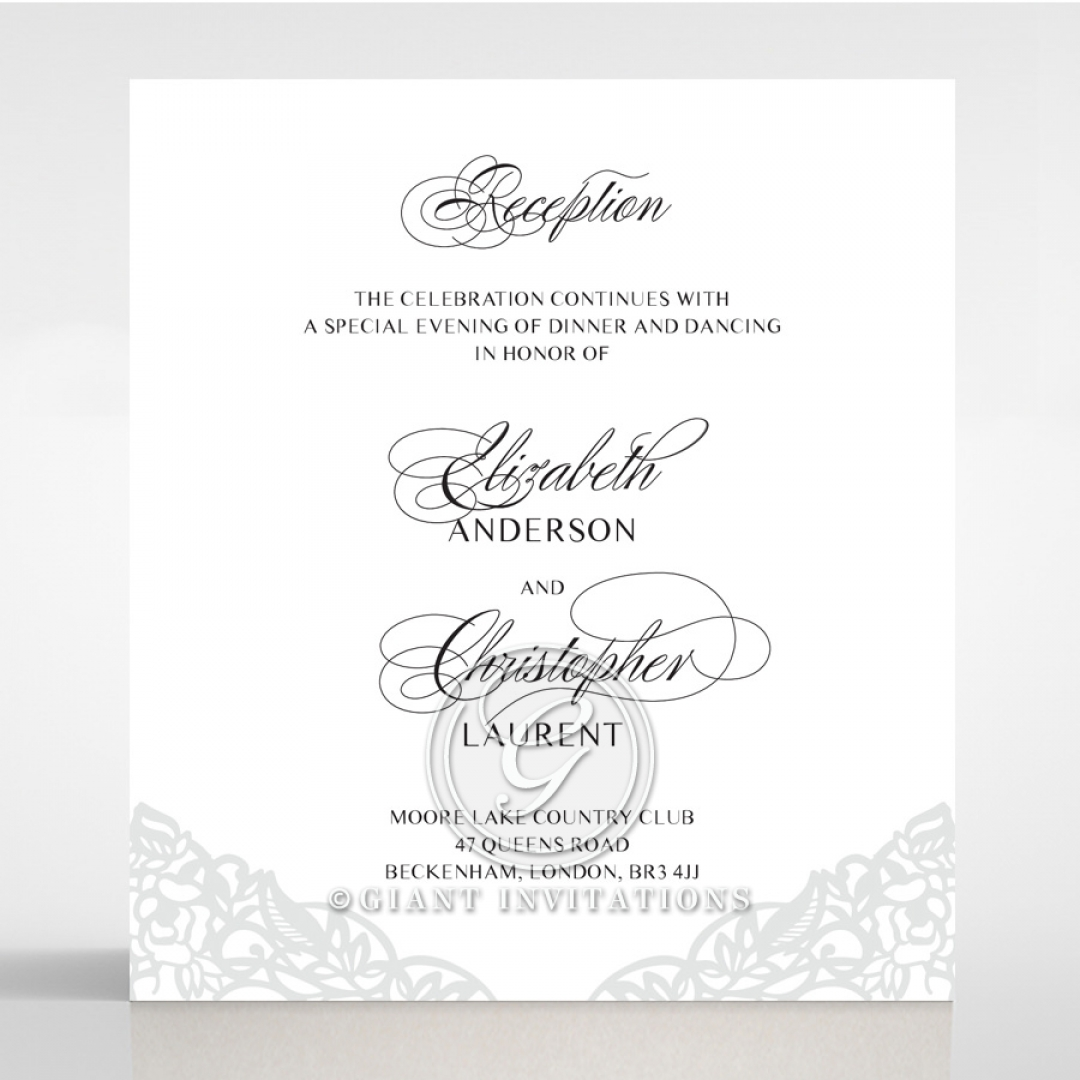Black Floral Lux reception invite card