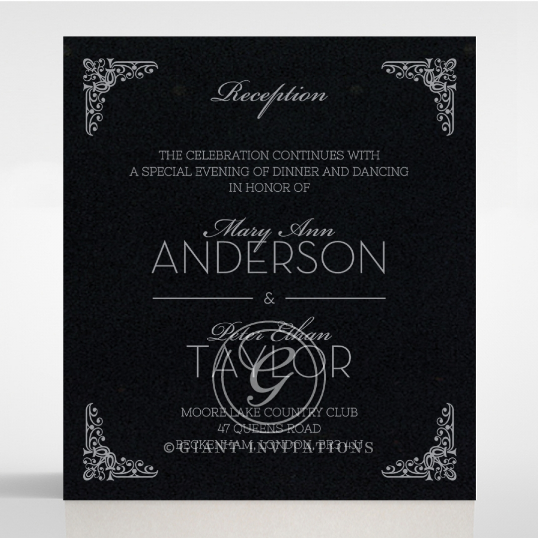 Black on Black Victorian Luxe with foil reception invitation card design