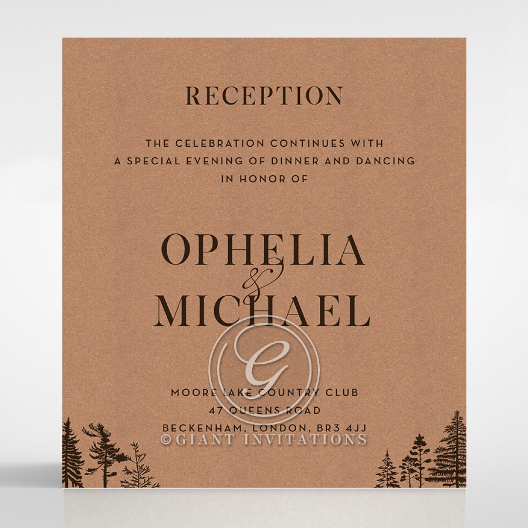 Delightful Forest Romance reception enclosure stationery invite card