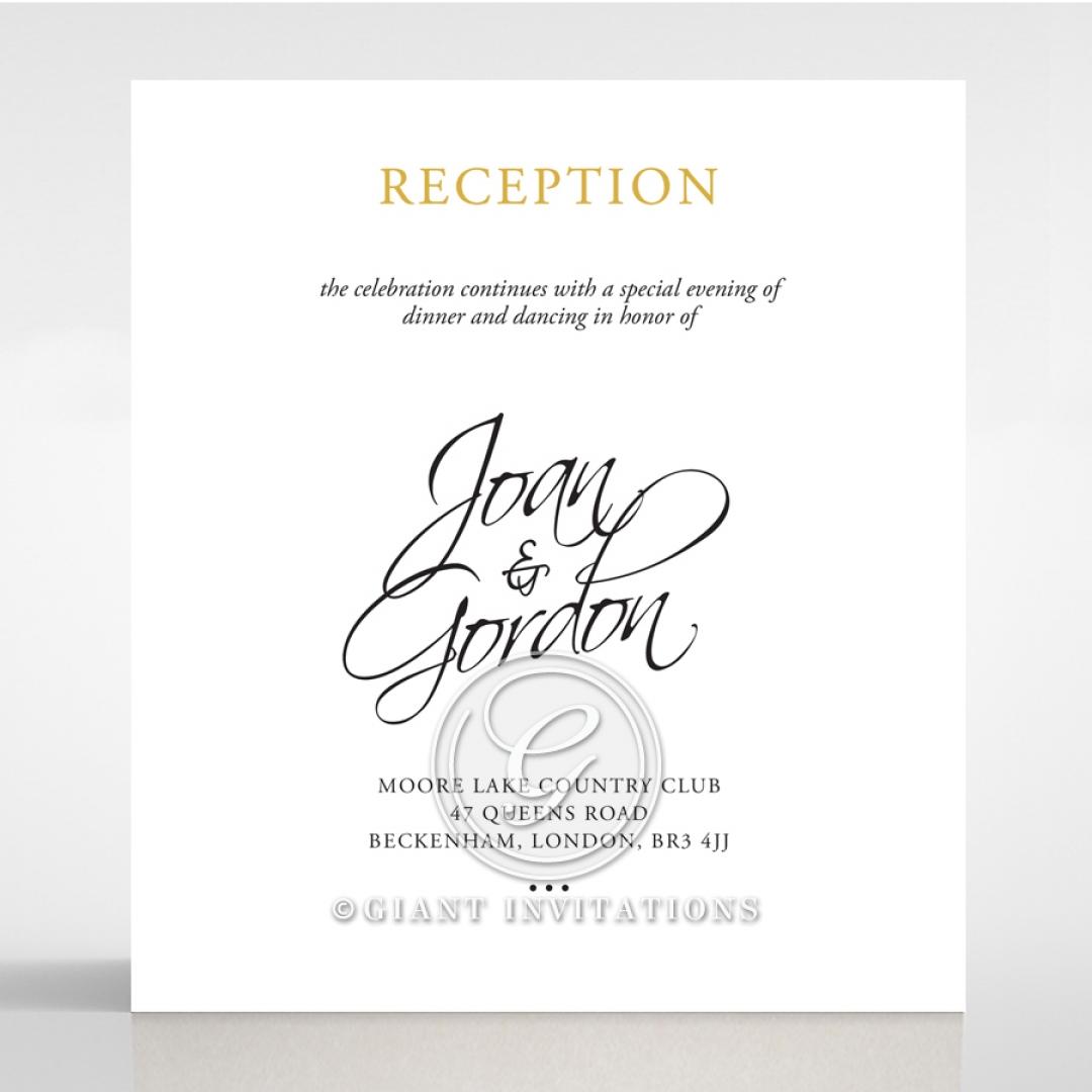 Diamond Drapery wedding reception enclosure invite card