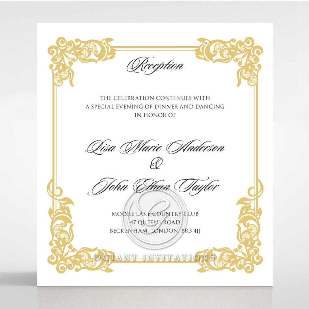Divine Damask reception wedding invite card design