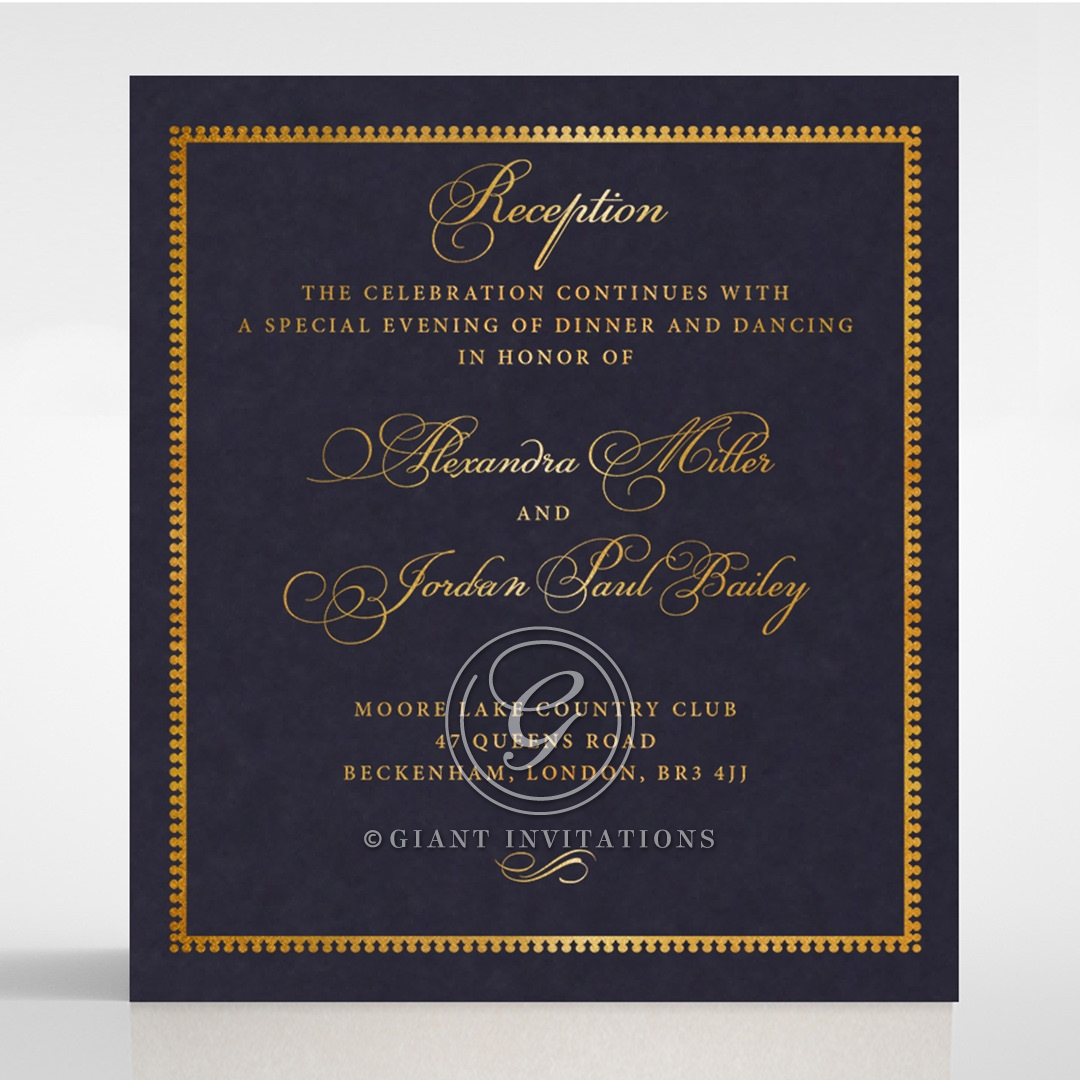 Lux Royal Lace with Foil wedding reception card design