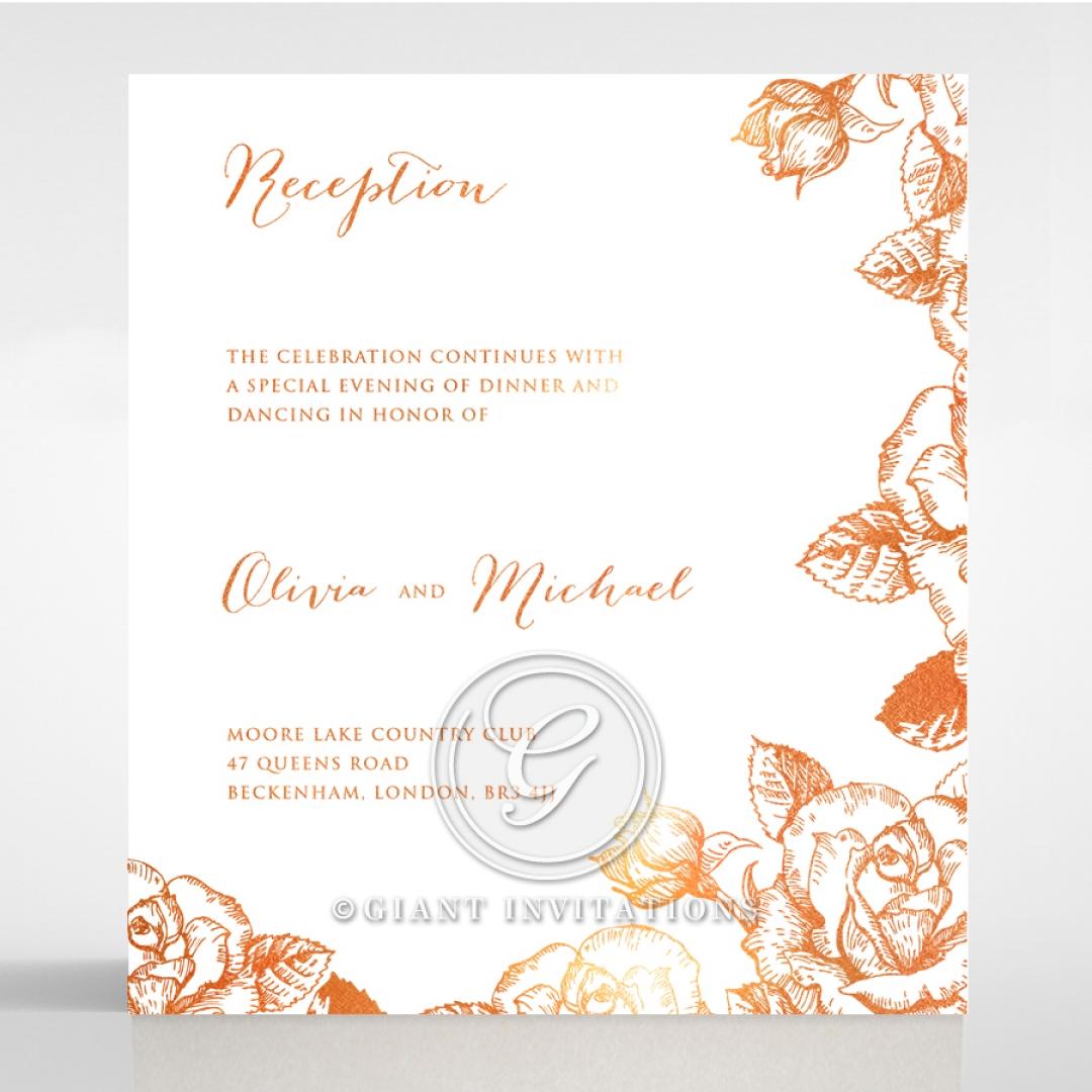 Rose Romance Letterpress with foil reception card design