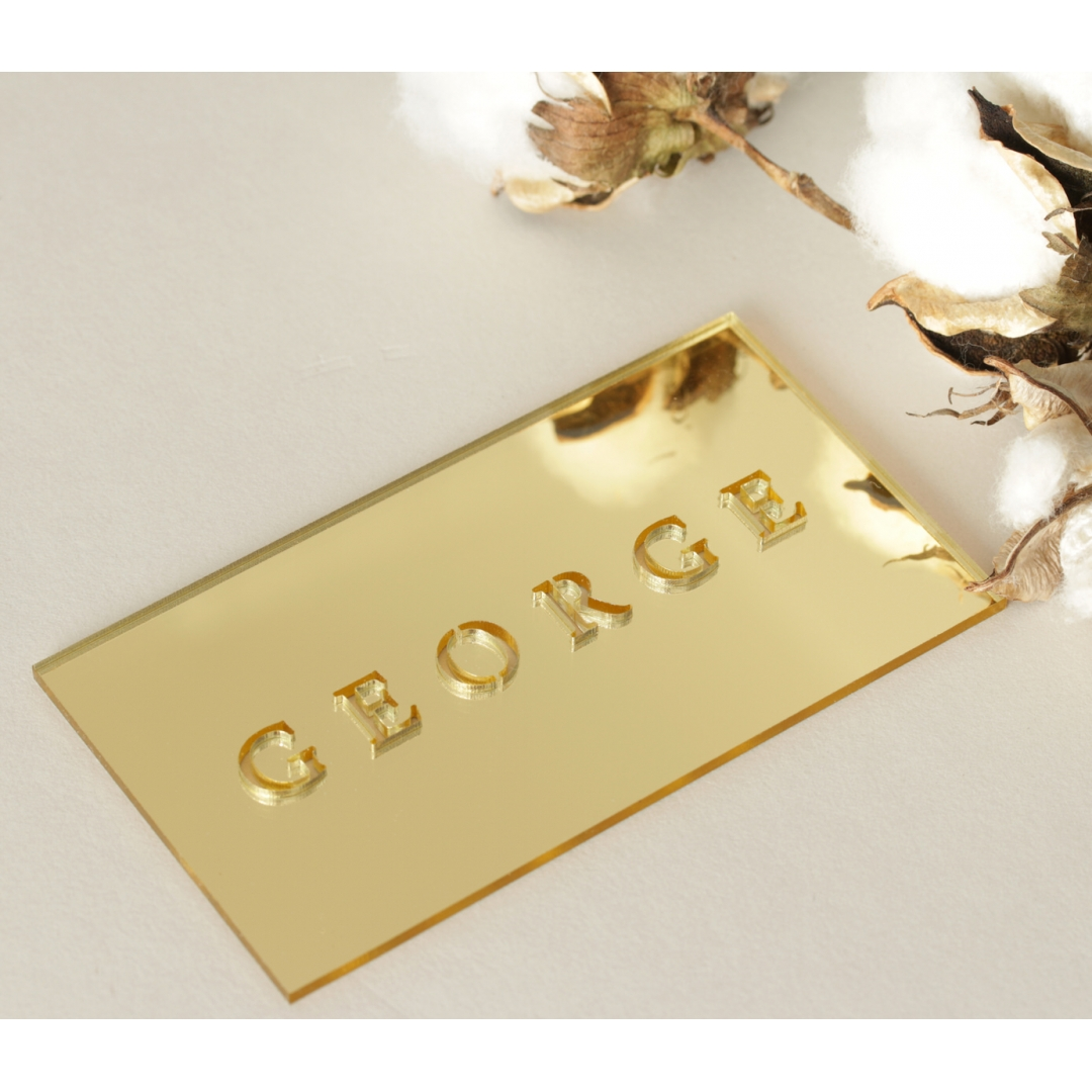 Gold Laser Cut Mirror Place Cards - Place Cards - LC-NAMECARD_MI-G - 184155