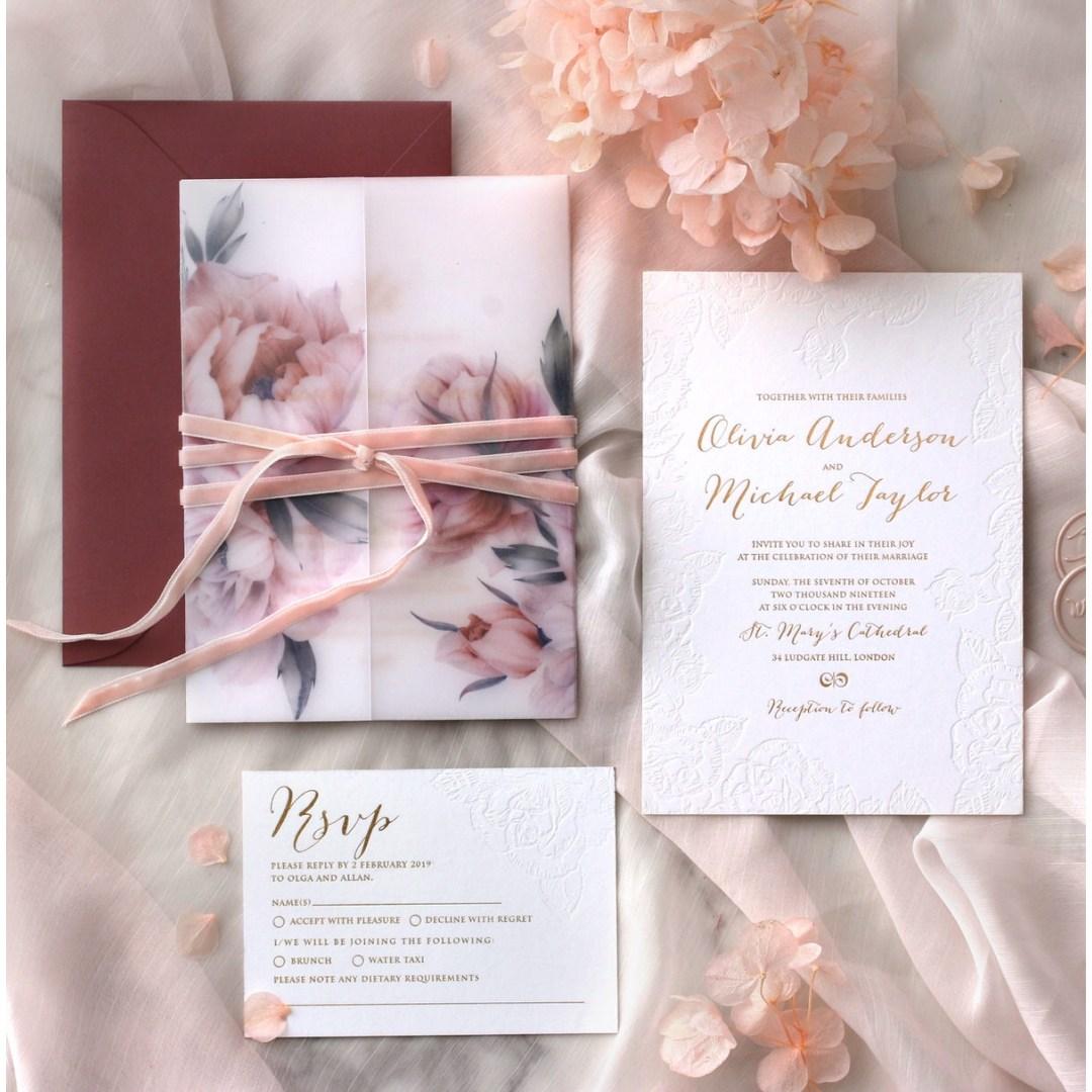 Rose Romance Letterpress - Wedding Invitations - PWI1171010 - 185137