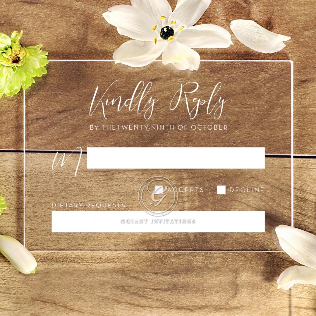 Acrylic Timeless Simplicity rsvp invitation