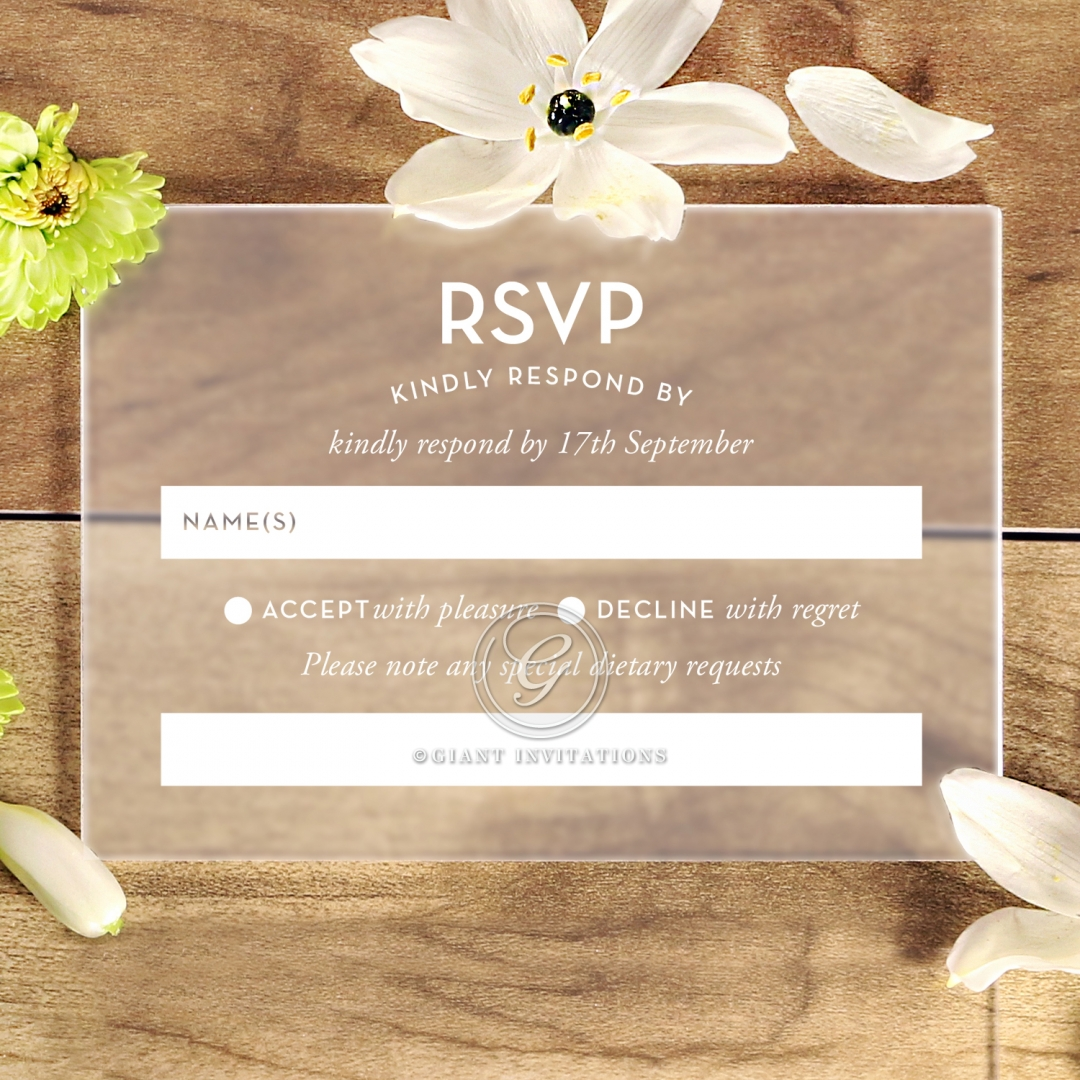 Frosted Chic Charm Acrylic rsvp wedding enclosure card design