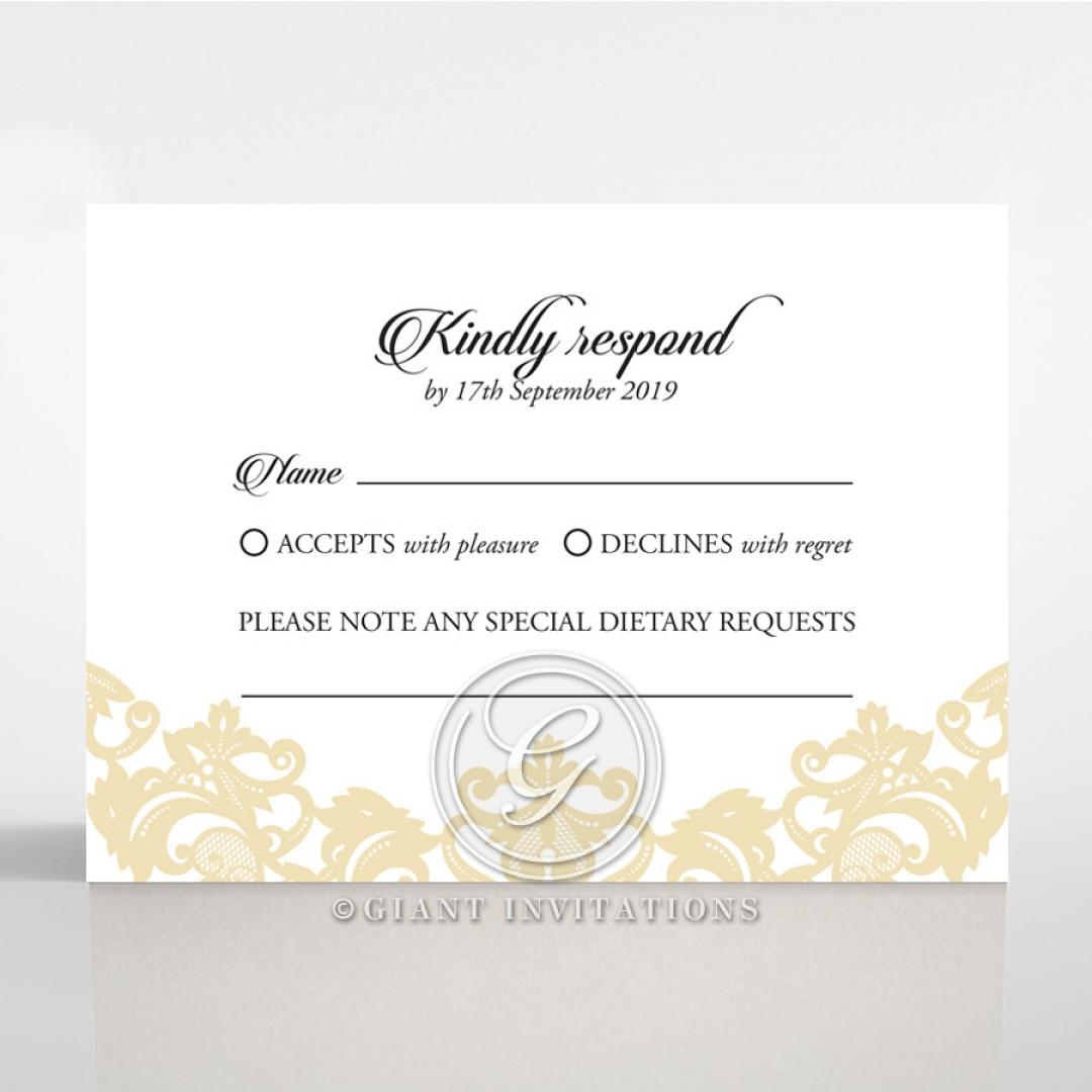 Golden Baroque Pocket rsvp wedding card