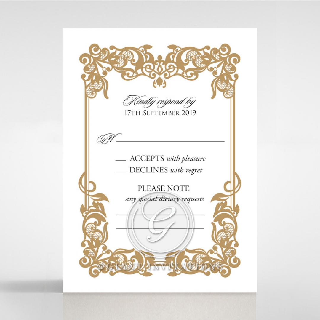 Golden Divine Damask rsvp enclosure card