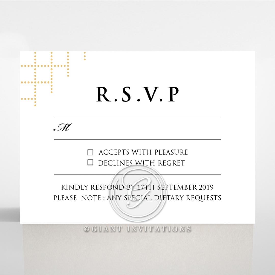 Quilted Letterpress Elegance wedding rsvp card