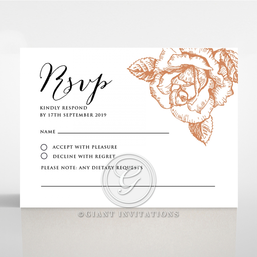 Rose Romance Letterpress rsvp card design