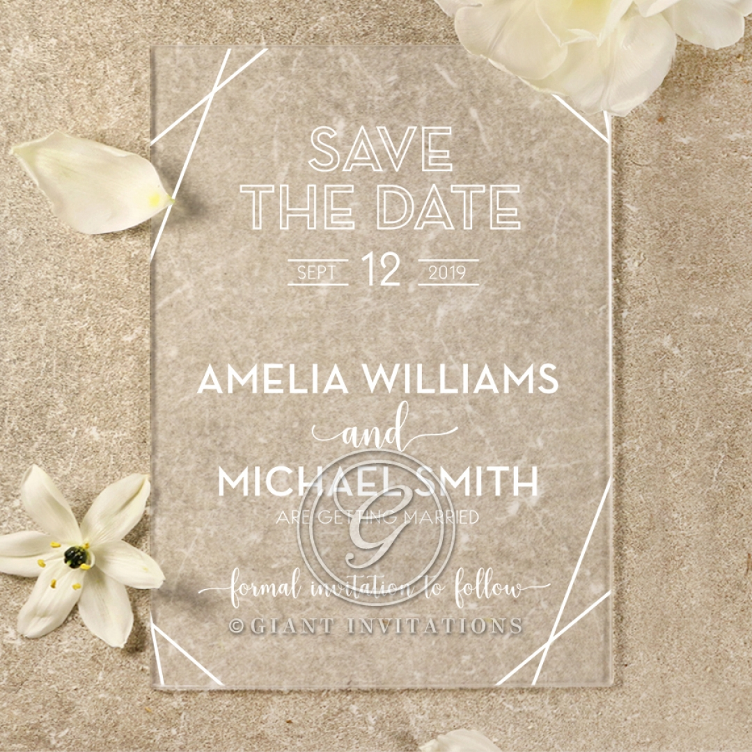 Acrylic Art Deco save the date wedding stationery card