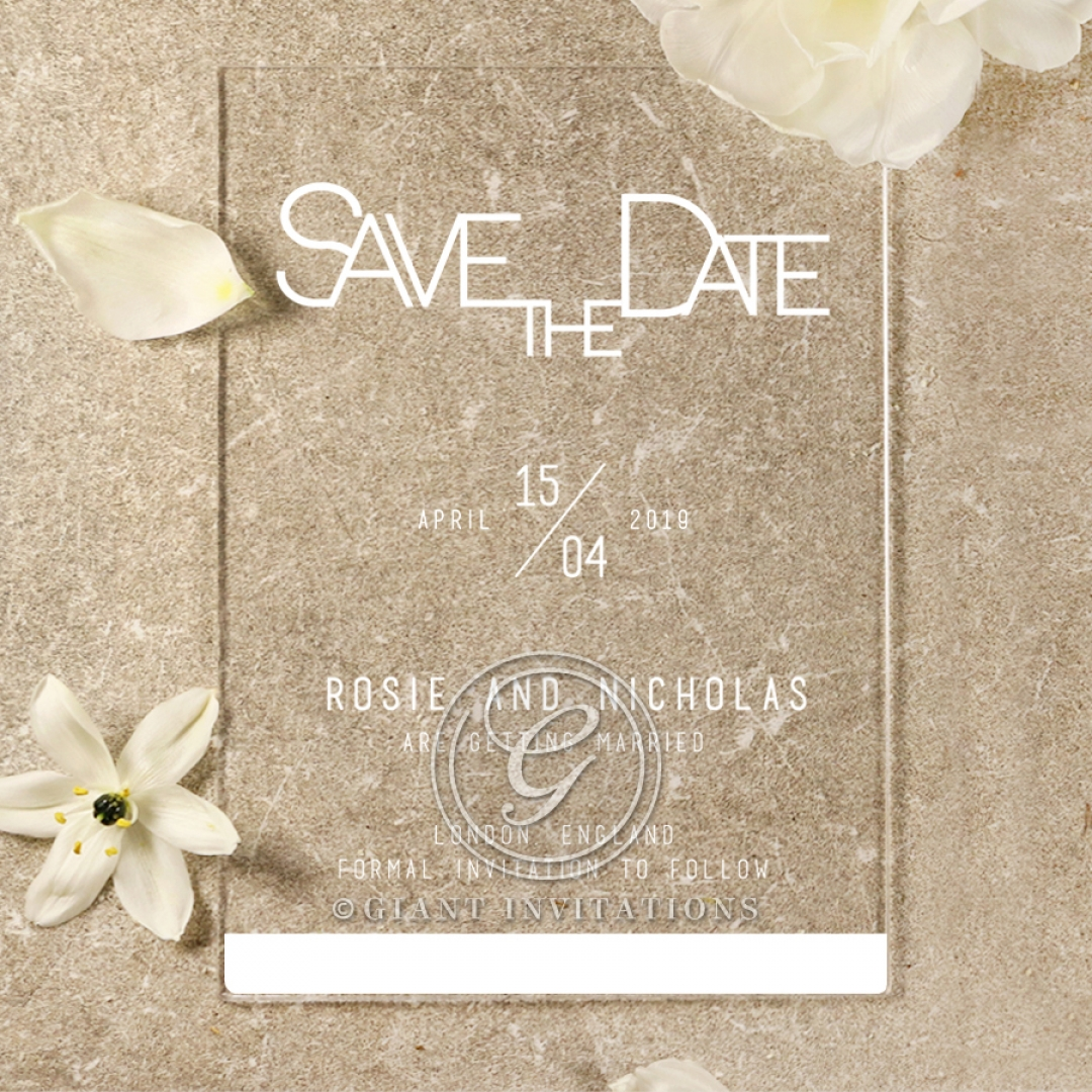 Acrylic Minimalist Love save the date invitation stationery card item