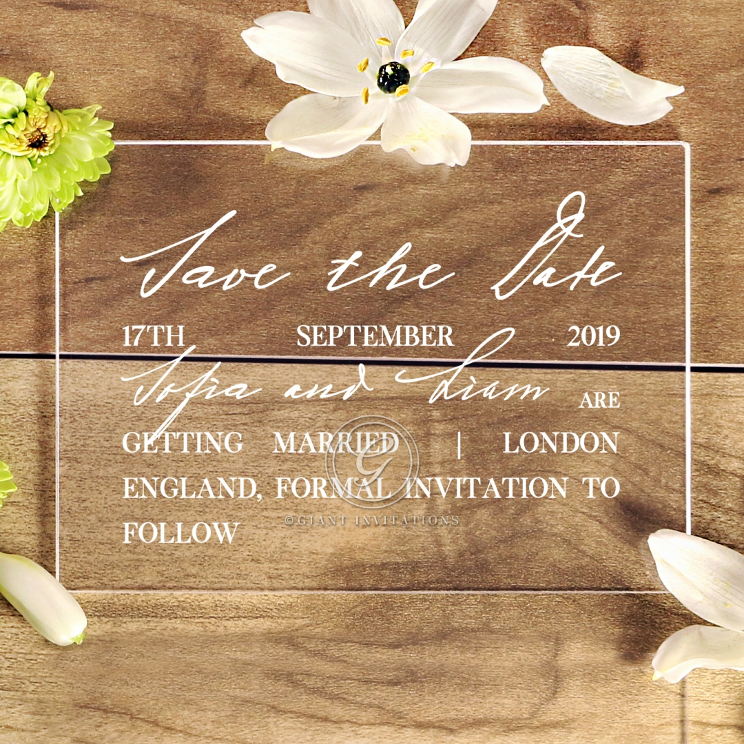 Acrylic Modern Romance save the date wedding card design
