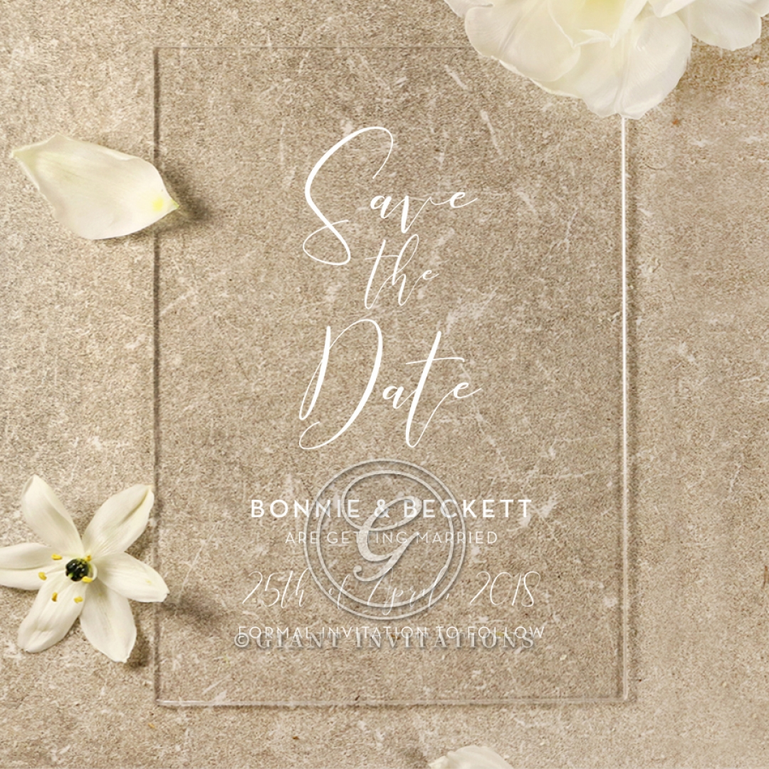 Acrylic Timeless Simplicity save the date invitation card