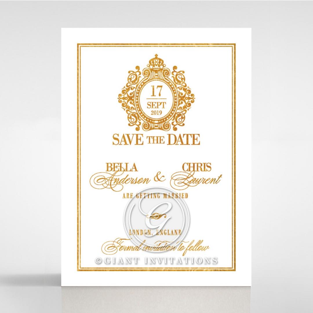 Gold Foil Baroque Gates wedding stationery save the date card design