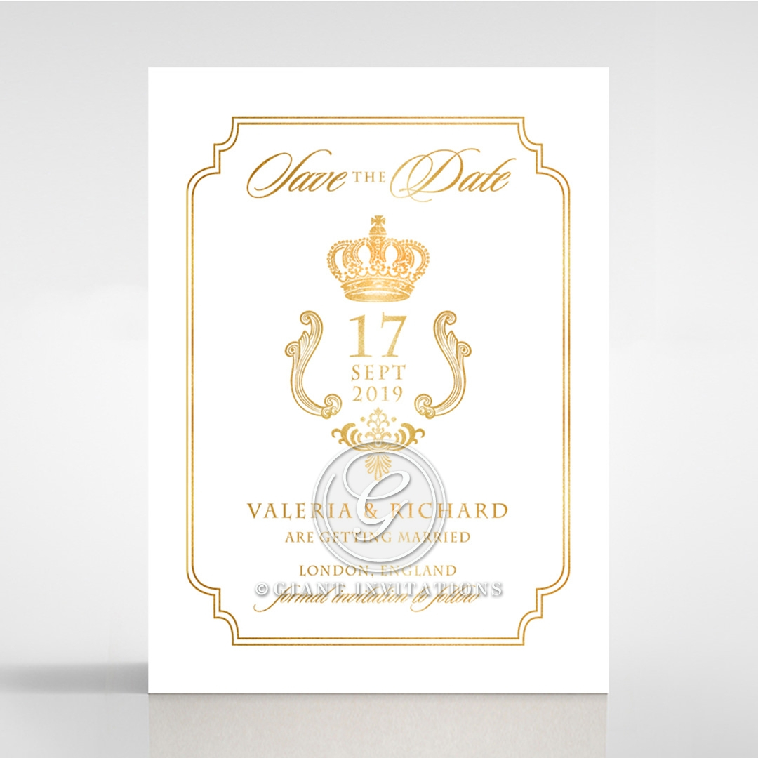 Ivory Victorian Gates with Foil wedding stationery save the date card design