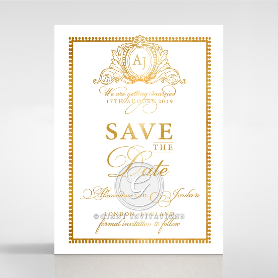 Royal Lace with Foil save the date wedding stationery card design