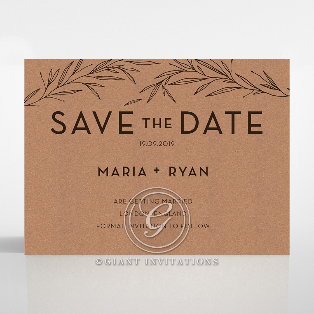 Rustic Oriental wedding stationery save the date card item